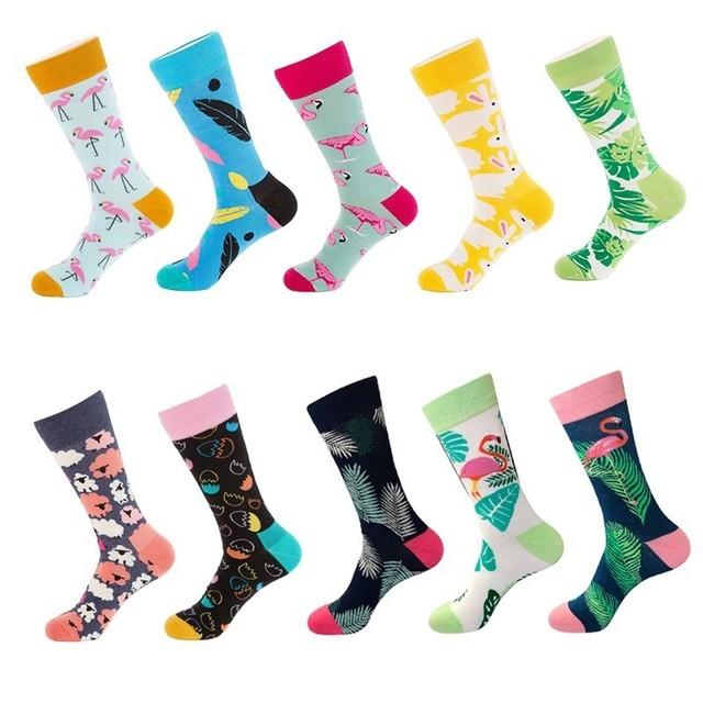 10 Colors Men's Fashion Dress Socks Cotton Colorful Wedding Mens Socks Novelty Plant Flamingo Series Soks Happy Funny Calcetines