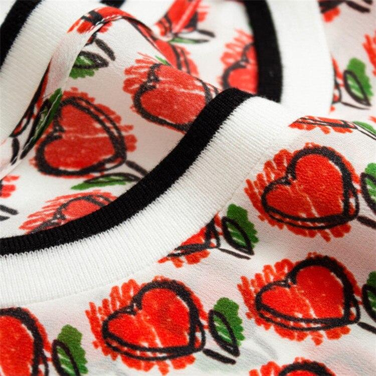 Nueva llegada 100% seda mujer moda impresa suelta camiseta suéter tops Oneck rojo uno y más tamaño - 3