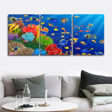 Laeacco Canvas Calligraphy Painting 3 Panel Watercolor Underwater Sea Fish Posters and Prints Wall Art Home Living Room Decor