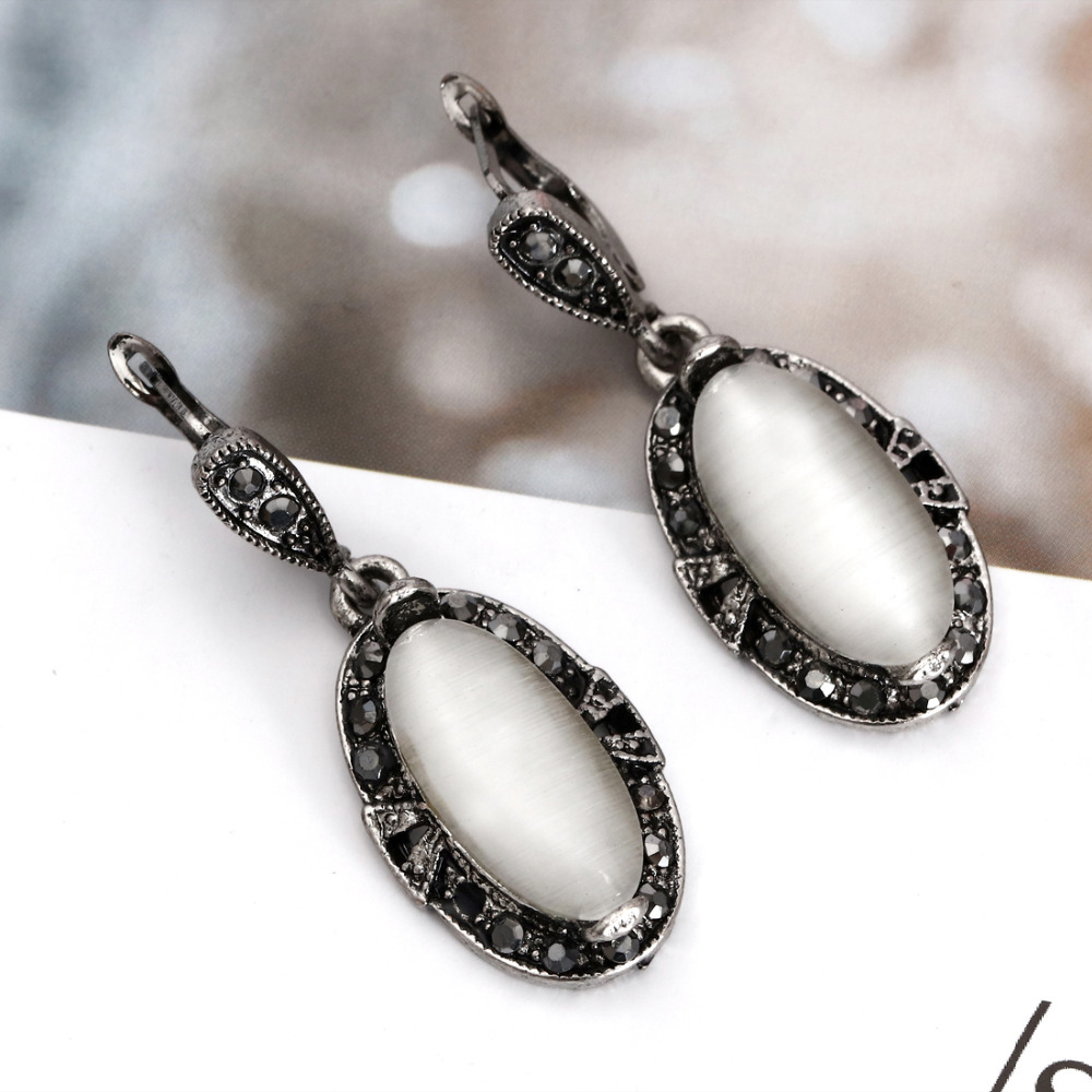 Elegant Vintage Opal Stone Jewelry Set Fashion Pendant Necklace Set Antique Silver 4Pc Jewelry Party Costume Jewelry Sets 10