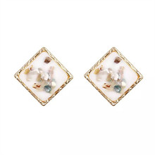 Temperament of restoring ancient ways ms shell broken geometry character exaggerated earrings earrings beautiful earrings цена 2017