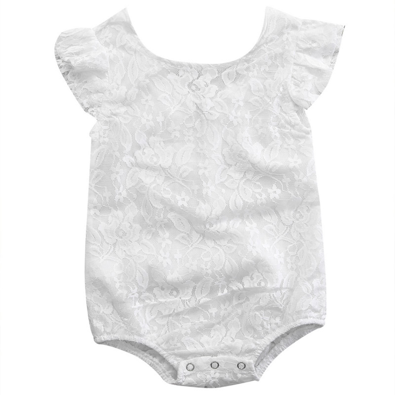 Newborn Toddler Infant Baby Girls Lace Floral Sleeveless Cotton Back Zipper Romper Jumpsuit Playsuit Outfit Sunsuit Clothes 0-2Y