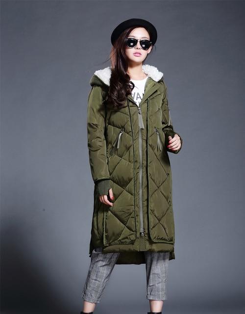 Burrima Winter Women Long Down Coat Pattern Diamond Wide-waist Jackets With Hoodie Black/Blue/Gray/Army Green Manteau Femme