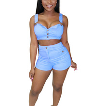 Best selling fashion denim straps shorts two-piece 2019 new womens tight suit
