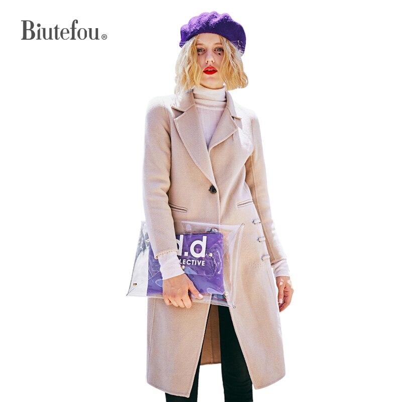 Nouvelle Arrivée cou brown Femmes Brown 2019 De V Printemps Taille Réglable Light Cachemire Mode Laine Long Manteaux PxqvCwnOax