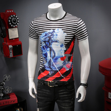 The 2019 summer new male personality shadow Days silk flowers short sleeve men T-shirt - P45