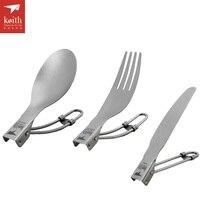 Keith Outdoor Cutlery Titanium Spoon Folding Knife Camping Spork Ti530234