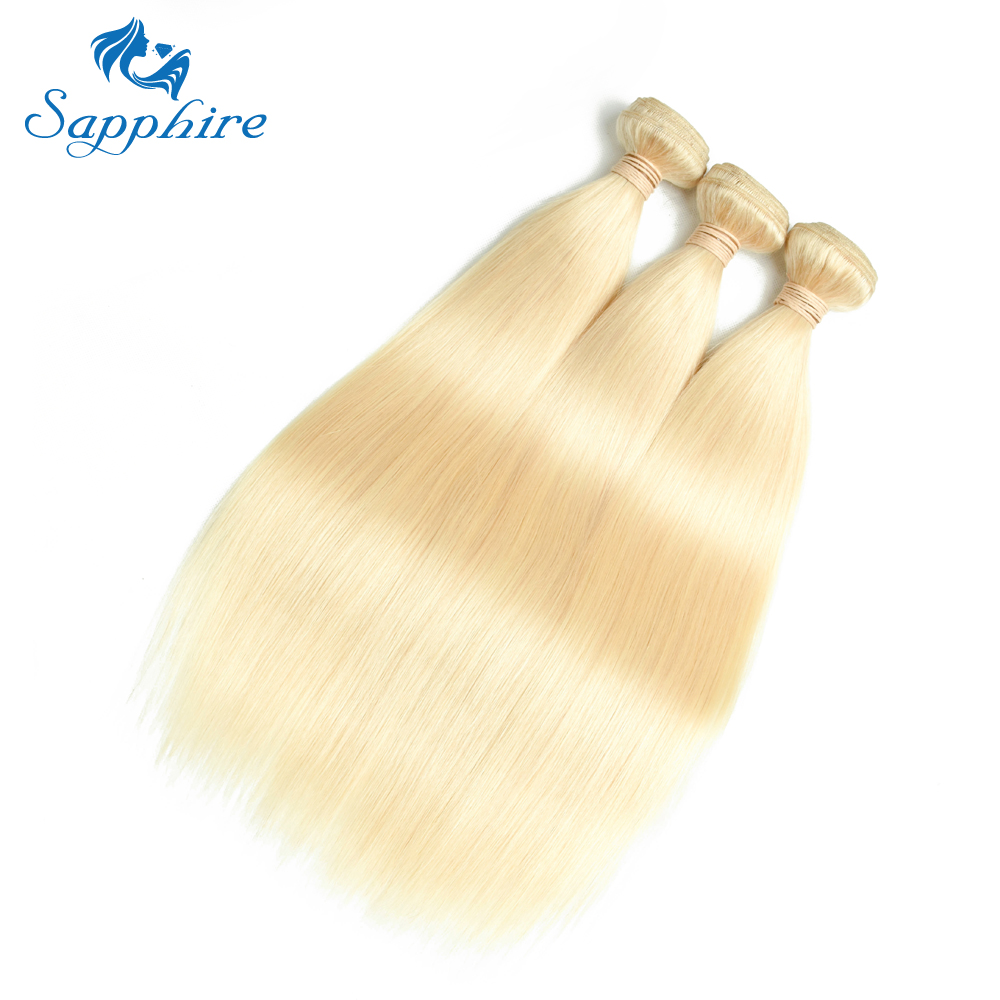 Sapphire Hair Extension Brazilian Hair Weave Bundles 613 Blonde Bundles With Closure Straight Human Hair Bundles With Closure