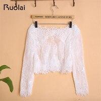 Ivory/White Boat Neck Long Sleeves Lace Bolero Wedding Jacket Vintage Bridal Jackets Women Bolero Lace Jacket Wrap FJ28