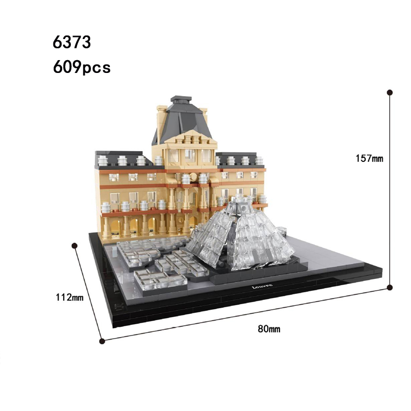 Hot World Famous Architecture Louvre Museum Paris France Building Block Model Bricks Educational Toys Collection for Kids Gifts hot world famous architecture the leaning tower of pisa italy building block model bricks educational toys collection for gifts
