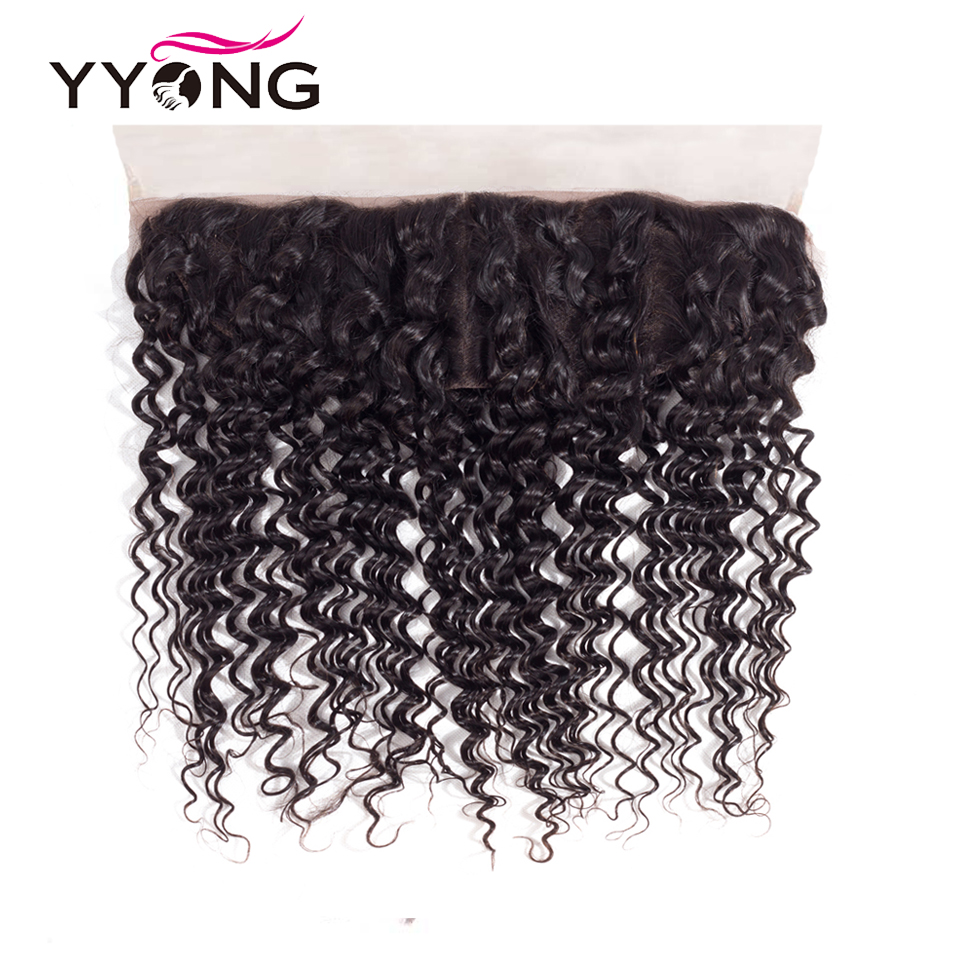 Yyong Brazilian Deep Wave Human Hair Lace Frontal Closure 13*4 Ear To Ear Free/Middle/Three Part Swiss Lace Remy Can Be Bleached