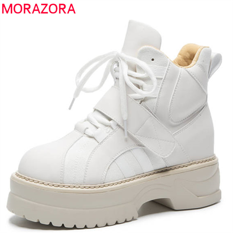 MORAZORA 2018 new arrival ankle boots for women round toe genuine leather autumn boots lace up fashion platform shoes woman morazora 2018 new arrival genuine leather ankle boots for women lace up zipper autumn boots fashion punk shoes woman black