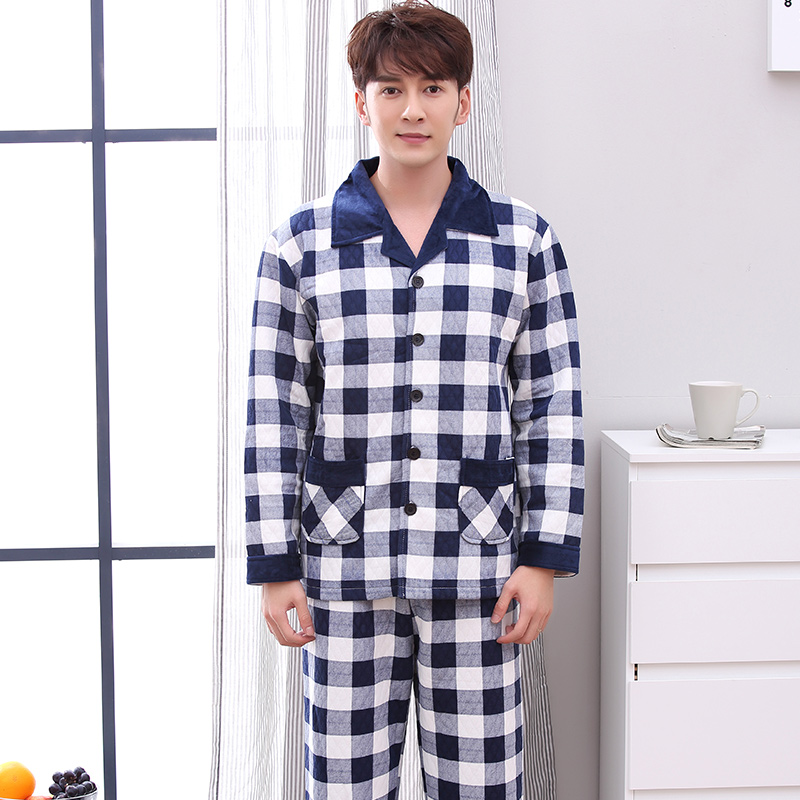 Hot Sale Autumn& Winter Quilted Men Pajama Sets Long Sleeve Pyjamas Male Thick Cotton Sleepwear Casual Soft Homewear M-4XL