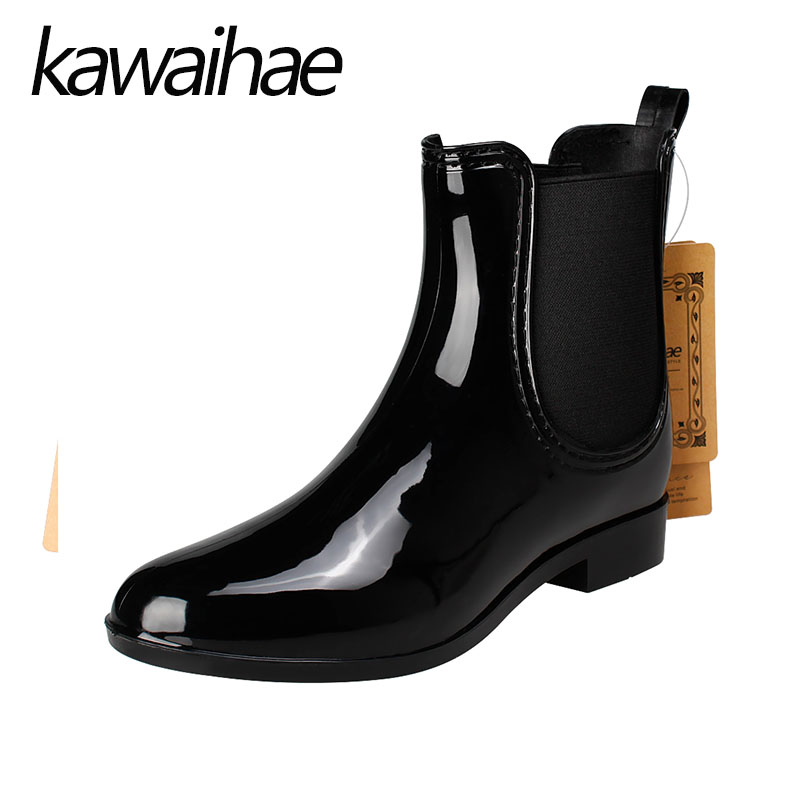 Pointed Toe Women Boots Rain Shoes Female Waterproof Rainboots Rubber Shoes Kawaihae Brand Martins 609 free shipping fashion madam featherweight rubber boots rainboots gumboots waterproof fishing rain boots motorcycle boots