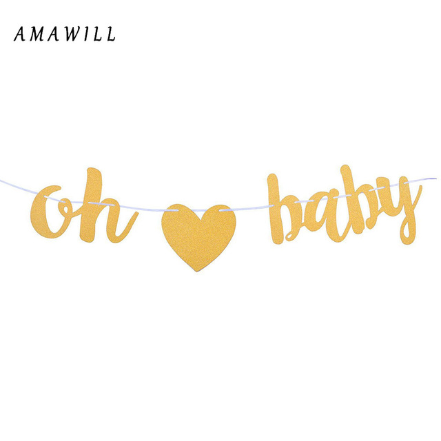 amawill oh baby gold glitter banner sign birthday baby shower pregnancy announcement gender reveal party supplies