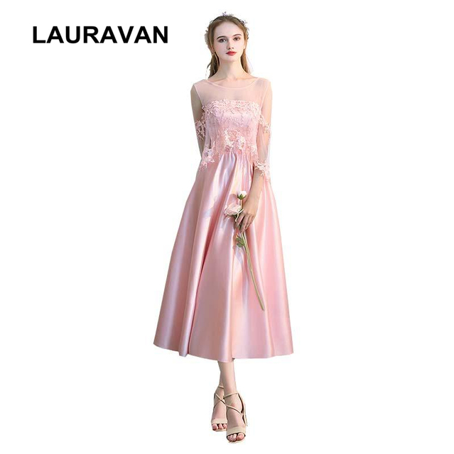 f1d7e9df8e8d robe mariage beautiful women short teen girl bridesmaid pink satin tea ball gown  dress for wedding party event free shipping