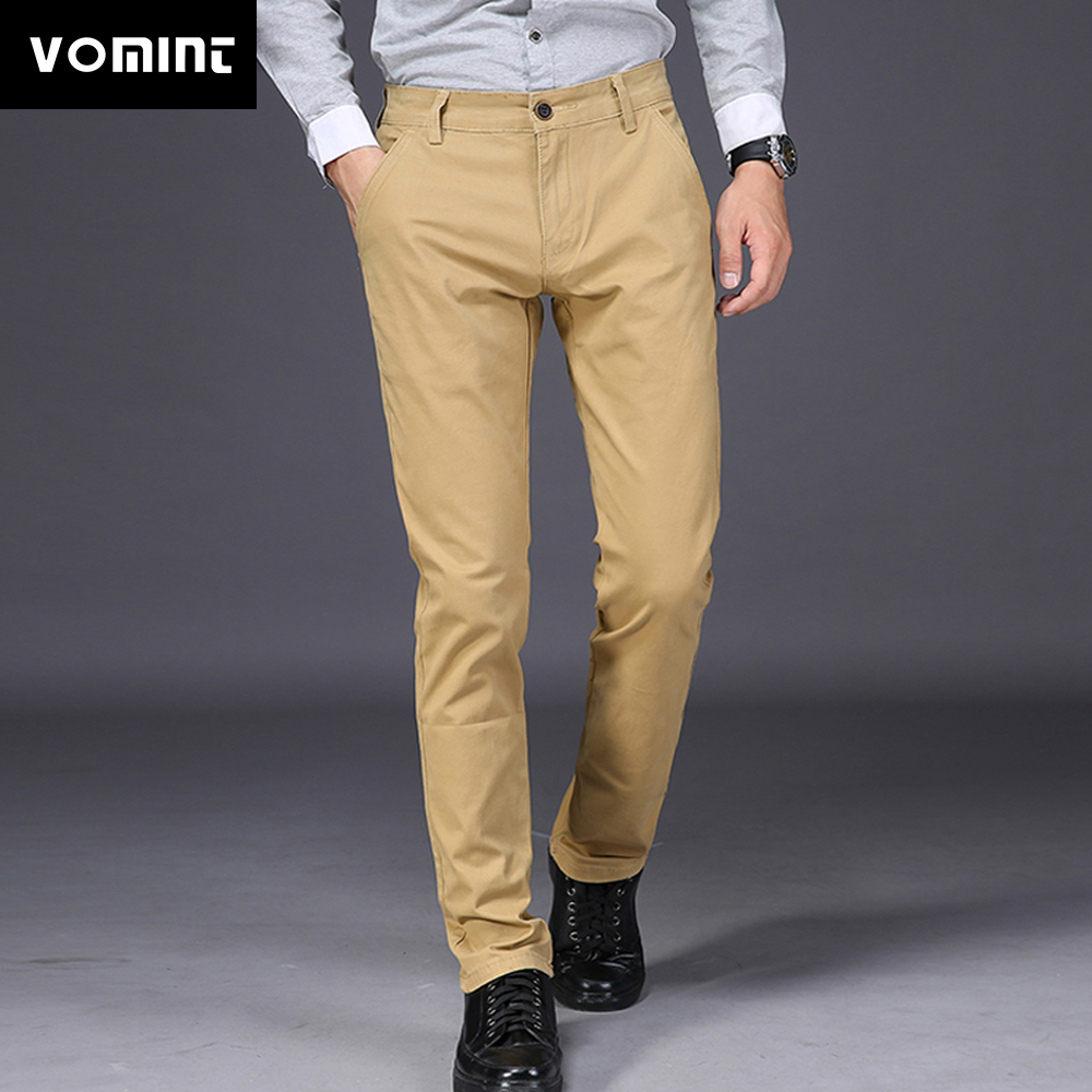 VOMINT 2019 New Mens Casual Pants Elasticity Trousers Regular Straight Smart Business Pant Black Blue Khaki Big Size 42 44 46