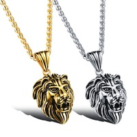 Wholesale Accessories Charm Fashion Men Jewelry Punk Style Gold Silver Color Lion Head Pendant Stainless Steel