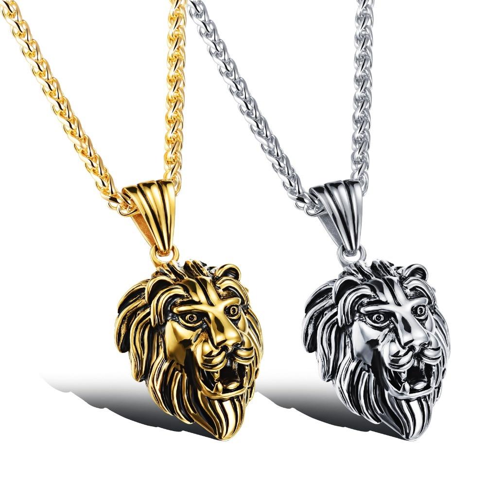 Wholesale Accessories Charm Fashion Men Jewelry Punk Style Color Lion Head Pendant Stainless