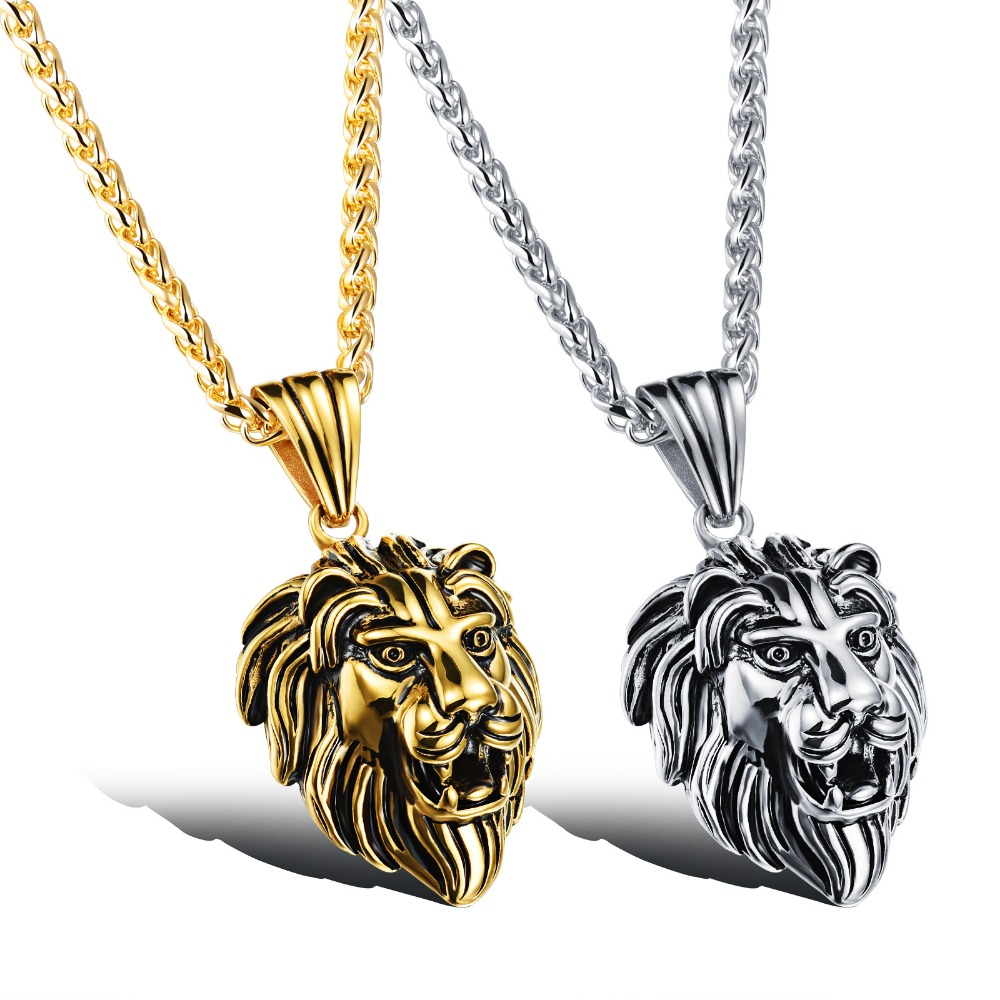 Wholesale Accessories Charm Fashion Men Jewelry Punk Style Color Lion Head Pendant Stainless Steel Necklace GX1037