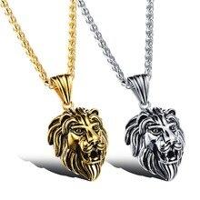 Gros accessoires Charm mode hommes bijoux Style Punk or / couleur argent tête de Lion pendentif en acier inoxydable collier GX1037