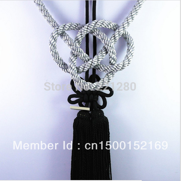 ONE SET JP JUNCTION PRODUCE CAR SILVER KIN TSUNA ROPE FUSA KIKU KNOTS FOR CAR REARVIEW