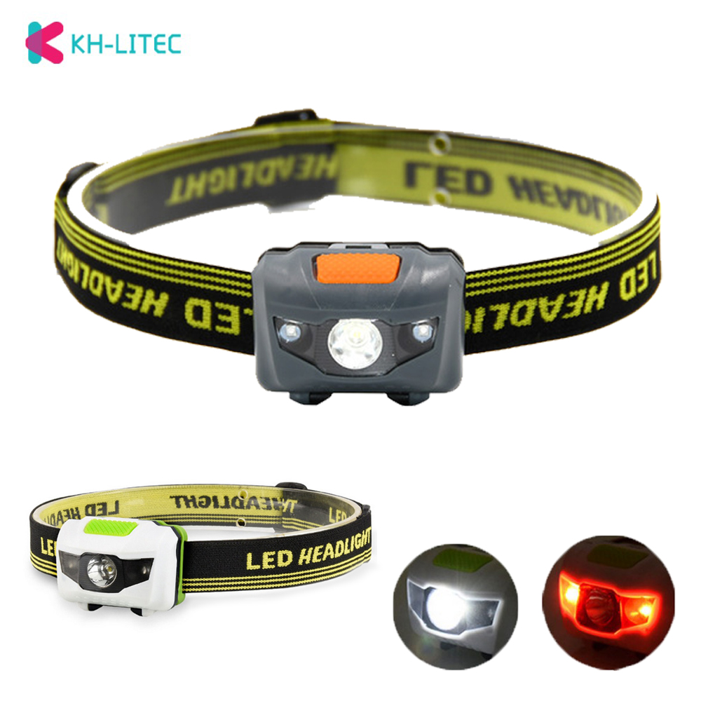 Portable Mini 4 Modes Lightweight Headlight LED Camping Head Lamp Head Flashlight Running Head Light Camping Headlamp AAA Battey