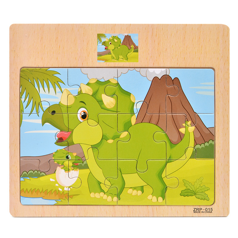 12 Pieces Early Education Puzzle Jigsaw Wooden Toys For Children Cartoon Animal Traffic Cognition Puzzles Intelligence Toy