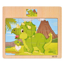 12 pieces Early Education Puzzle Jigsaw Wooden Toys For Children Cartoon Animal Traffic Cognition Puzzles Intelligence Toy(China)