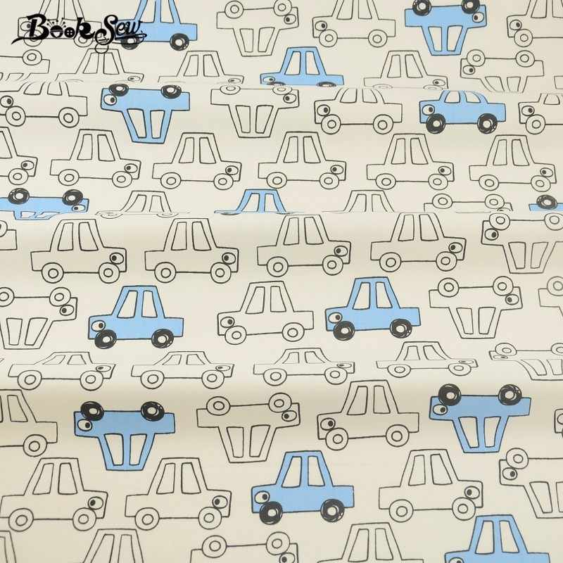 Booksew Meter Fabric For Sewing Curtains Home Textile Clothing Blue Cars Pattern Patchwork Crafts 100% Cotton Twill Fabric