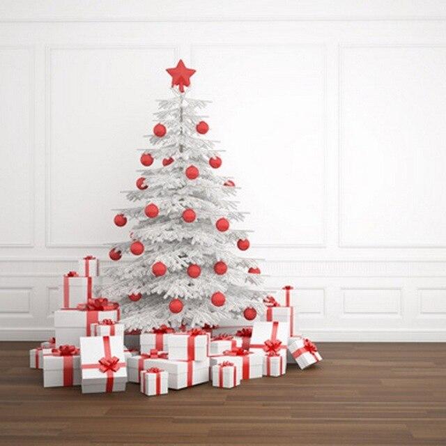 Nieve Pino blanco con Caja de Regalo de Color Rojo Navidad Telones ...