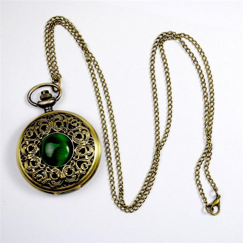Fashion Quartz Pocket Watch Big Hollow Emerald Stone Vintage Necklace Pendant Fob Watches Clock Chain For Men Women Gifts