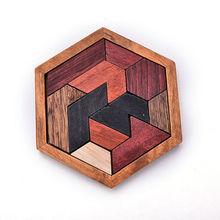 1 Set Intelligence Wooden Hexagonal Assembled Jigsaw Tangram