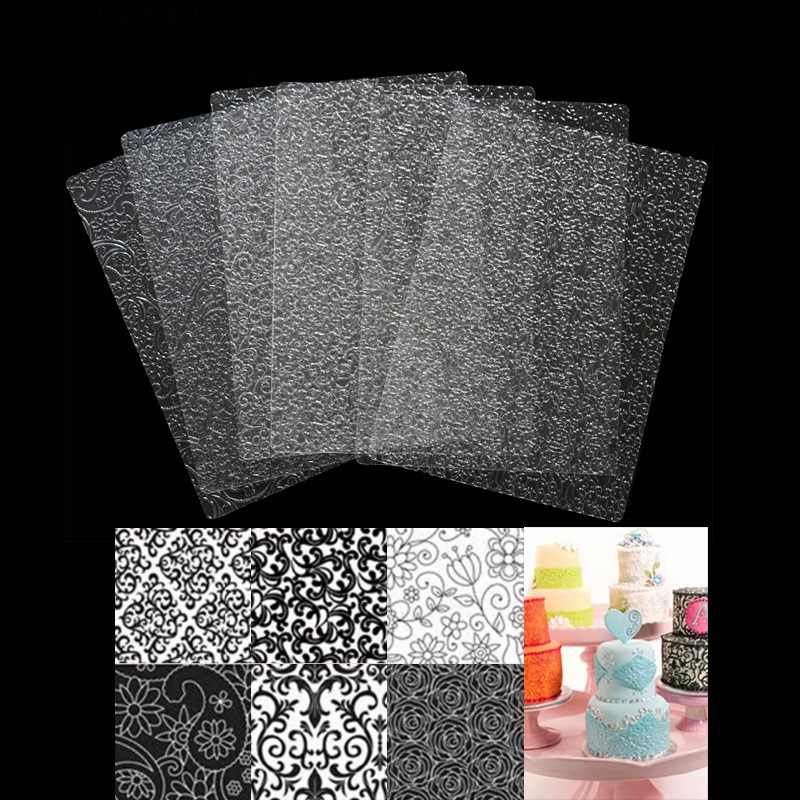 6Pcs/lot Plastic Fondant Molds Stencil For Cake Cookies Different Pattern Texture Mat Cake Decorating Tools Baking Embossing Pad