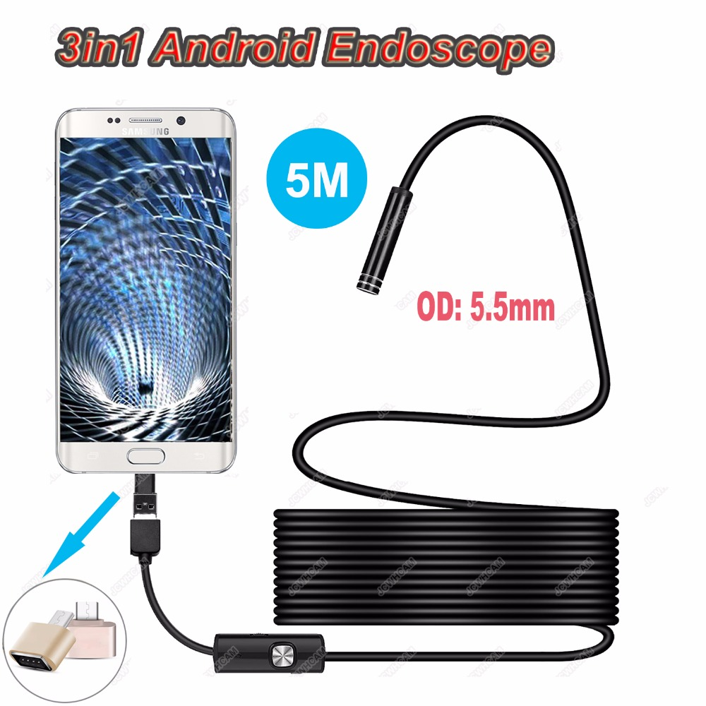 640P Android 5.5MM Micro USB Type-c USB 3-in-1 Computer Endoscope Borescope Tube Waterproof USB Inspection Mini Video Camera