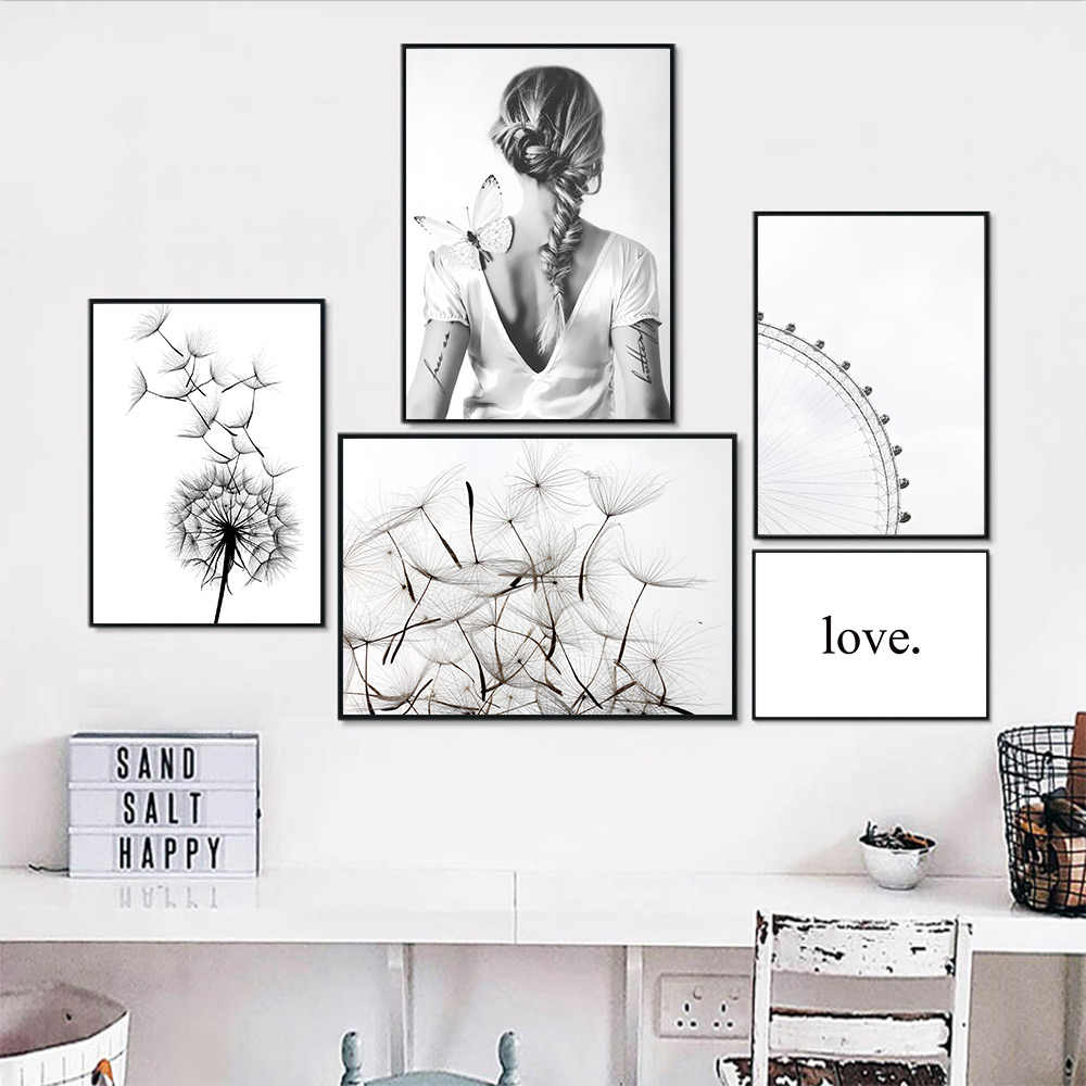 Natural Scenery Painting Canvas Art Landscape Poster Woman Black White Posters And Prints Living Room Dandelion Picture Unframed