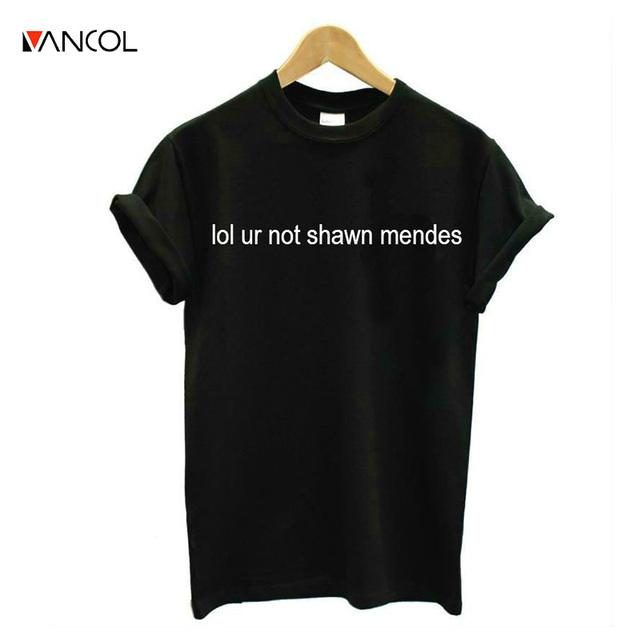 Vancol Letra t Shirt Mujeres Tops Harajuku Blusa Tumblr Punk camiseta camiseta Mujer de Algodón Para Hombre 3XL lol ur no Shawn Mendes