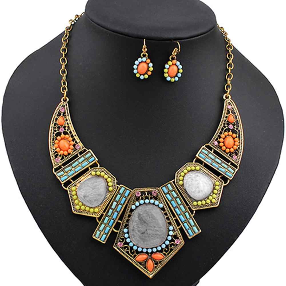2019 vintage Women's Boho Colorful Hollow Statement Chain Choker Necklace Hook Earrings Set