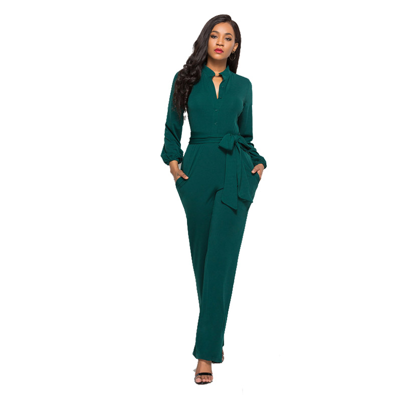 Rompers Womens Jumpsuit Winter 2018 Overalls Blue Sexy Elegant High