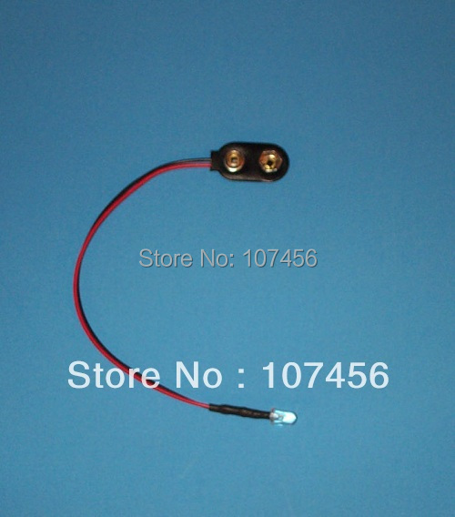 Free Shipping 100pcs Blue LED Lamp Light Set Pre-Wired 3mm 9V DC  WIRED LED 9 VOLT BLUE WITH SNAP 9V