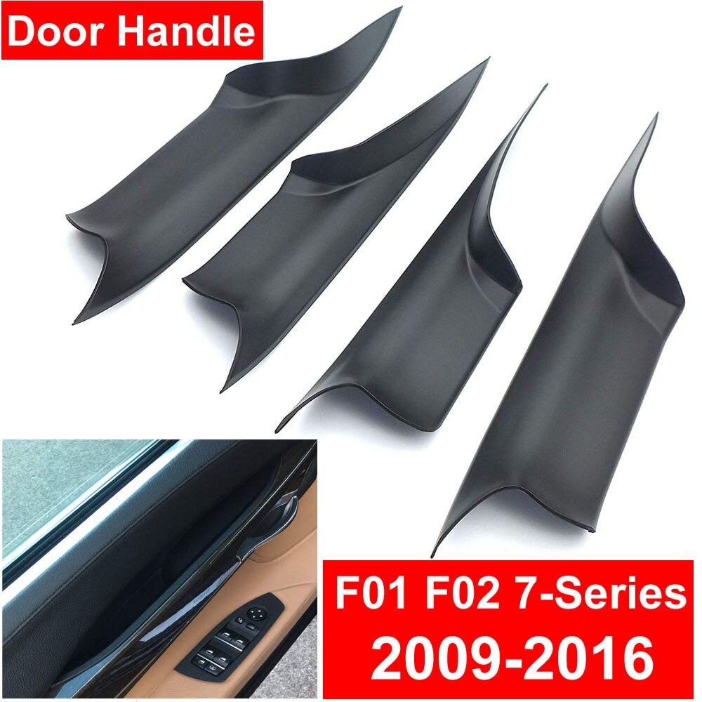 Poignée de porte intérieure de voiture en Fiber de carbone crème noire pour BMW F01 F02 série 7 avant arrière gauche droite panneau intérieur tirer la barre de revêtement d'habillage