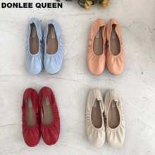 DONLEE QUEEN 2019 New Women Casual Flats Ballerina Shallow Round Toe Ballet Female Boat Shoes Soft Pleated Shoe zapatos de mujer