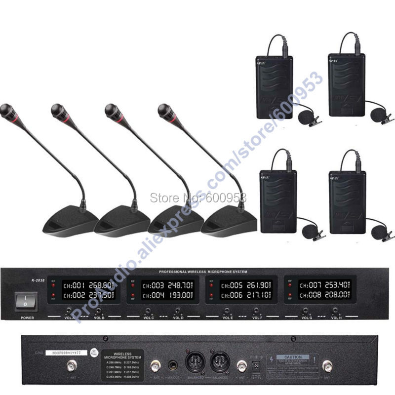 MICWL Audio Classic Digital Wireless Meeting Conference Microphone Mic System - With 4 Desktop Gooseneck 4 Clip-On Lavalier Mic