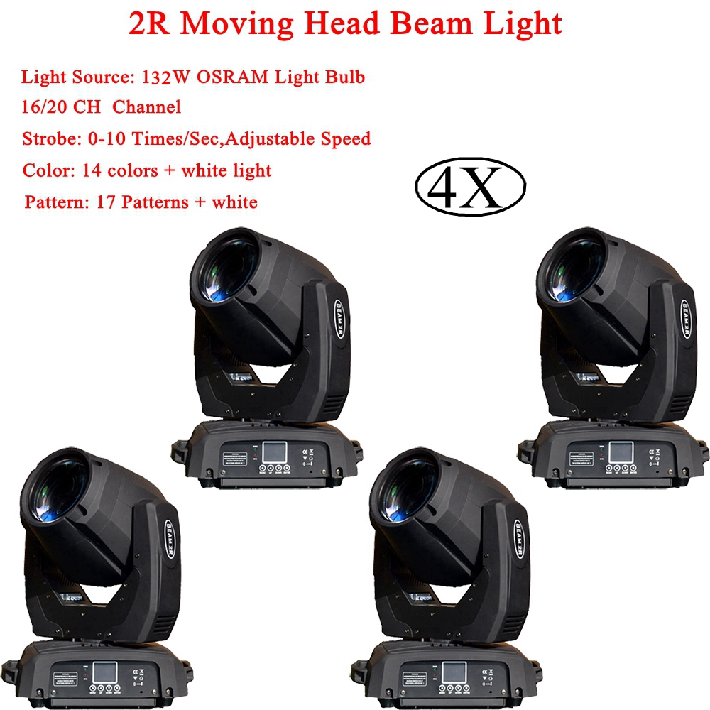 4Pcs/Lot 2R 132W LED Moving Head Beam Spot Wash Light With Rotation Gobo Function For DJ Disco Stage Projector With Flight Case 2r sharpy beam 2r compact moving head stage lights 132w 2r brand lamp mini sharpy moving head light 90v 240v free shipping
