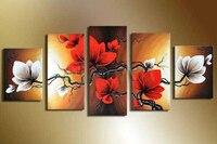 El yapımı çiçekler duvar boyama kahverengi kırmızı tuval üzerine çiçek yağlıboya 5 parça tuval sanat oturma odası dekorasyon için sanat setleri