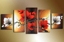 Hand made flowers wall painting brown red floral oil  on canvas 5 piece art for living room decoration sets