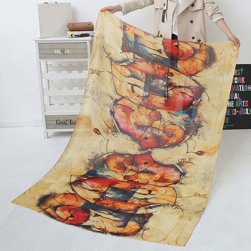 Ұзын граффити әйелдер шарфы Күзгі қыс - Киімге арналған аксессуарлар - фото 3