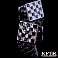 KFLK 2018 Luksusowe koszula spinki męskie prezent Marka mankiet przycisk Czarny i Biały Kryształ cuff link Wysokiej Jakości abotoadura Biżuteria