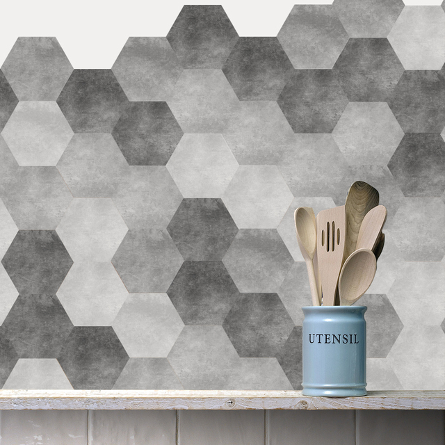 10pcs Set Gray Hexagon Tile Floor Stickers Wall Waterproof Anti Slip Art Decal