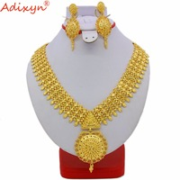 Adixyn Two Styles Indian Necklace/Earrings Jewelry Set For Women Gold Color African/Dubai/Arab Wedding Jewelry Gifts N060810